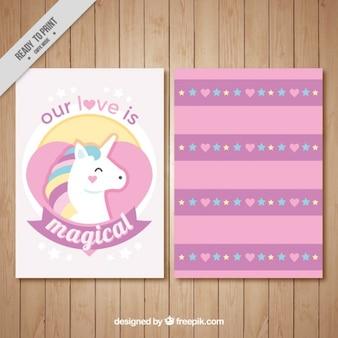 Carta di amore bello, con un unicorno