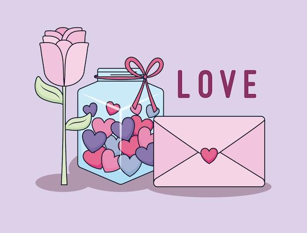 Carta di amore con barattolo e cuori