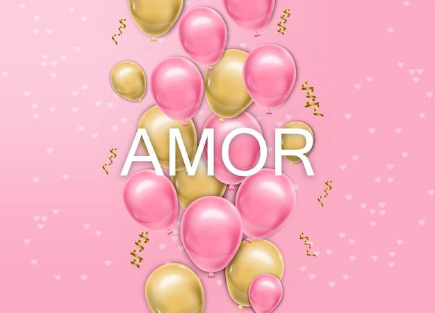 Carta di amore con palloncini vector realistico
