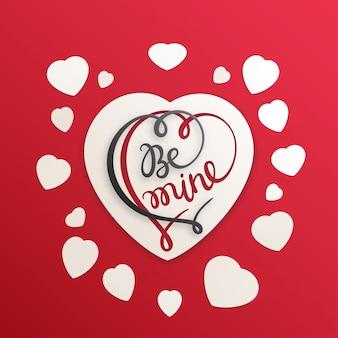 Carta di amore per il giorno di san valentino sii la mia illustrazione con il cuore tagliato di carta