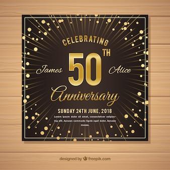 Carta di anniversario di matrimonio in stile dorato