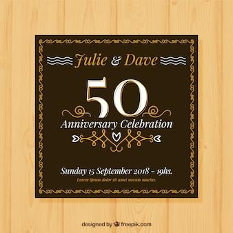 Carta di anniversario di matrimonio in stile piatto