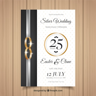 Carta di anniversario di matrimonio in stile realistico
