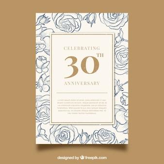 Carta di anniversario di matrimonio in stile vintage