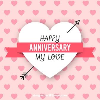 Carta di anniversario felice con cuore di freccia in stile piano