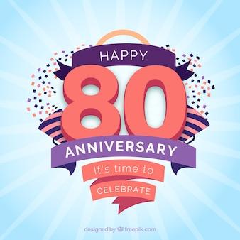 Carta di anniversario felice con nastri e coriandoli
