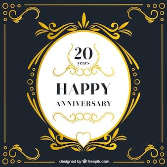 Carta di anniversario felice con ornamenti in stile dorato