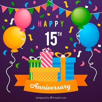 Carta di anniversario felice con palloncini e regali