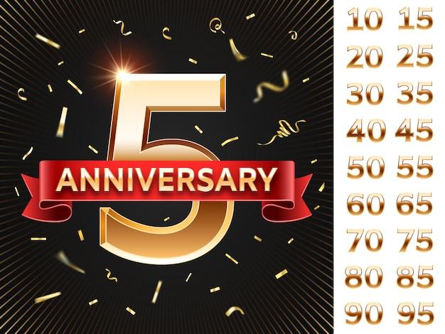 Carta di anniversario. invito a una festa con coriandoli e numeri dorati.