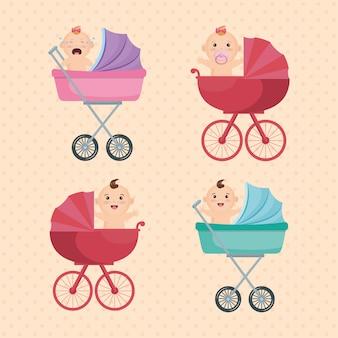 Carta di baby shower con bambini piccoli
