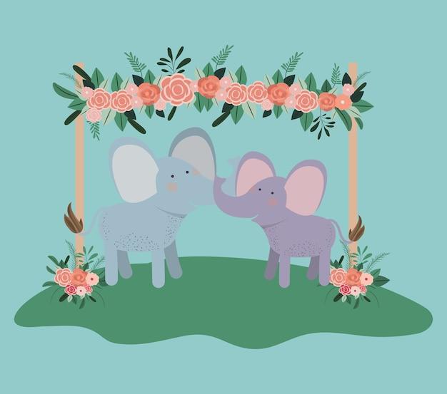 Carta di baby shower con coppia di elefanti carino