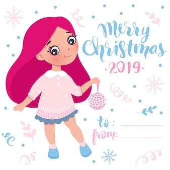Carta di bambina di buon natale e felice anno nuovo
