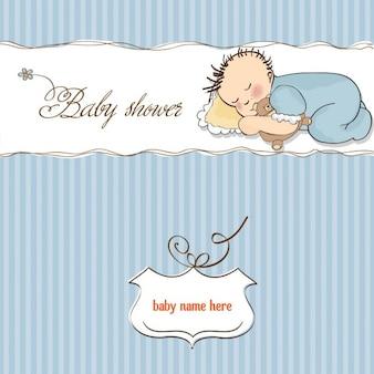 Carta di bambino doccia con poco sonno neonato con il suo giocattolo orsacchiotto