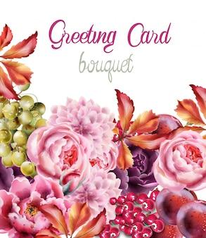 Carta di bouquet di fiori selvatici della foresta
