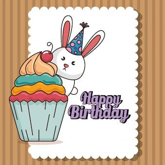 Carta di buon compleanno con coniglietto carino