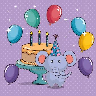 Carta di buon compleanno con elefante carino