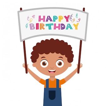 Carta di buon compleanno con i bambini