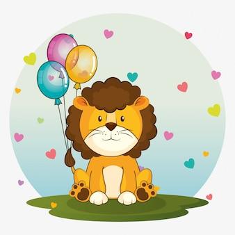 Carta di buon compleanno con leone carino