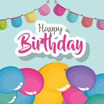 Carta di buon compleanno con palloncini d'aria
