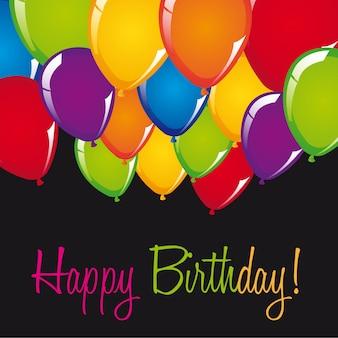 Carta di buon compleanno con palloncini