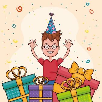 Carta di buon compleanno con ragazzino