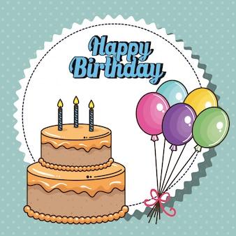 Carta di buon compleanno con torta dolce