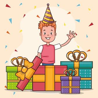 Carta di buon compleanno con un ragazzino