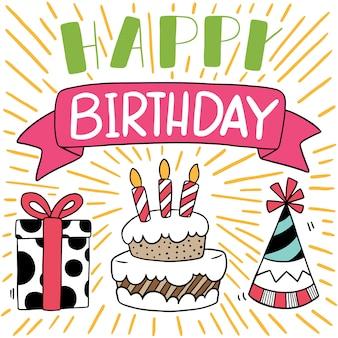 Carta di buon compleanno doodle disegnato a mano festa
