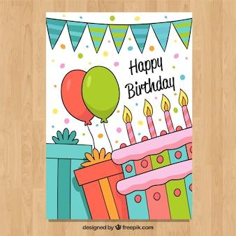 Carta di buon compleanno in mano stile disegnato