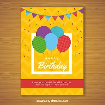Carta di buon compleanno in stile piatto
