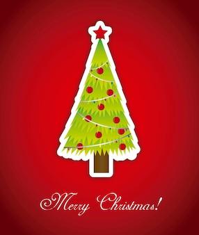 Carta di buon natale con albero sopra vettore sfondo rosso