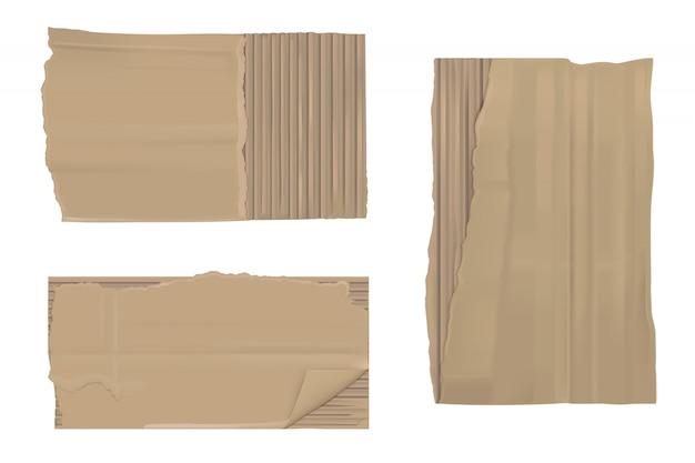 Carta di cartone strappata. lenzuoli marroni strappati