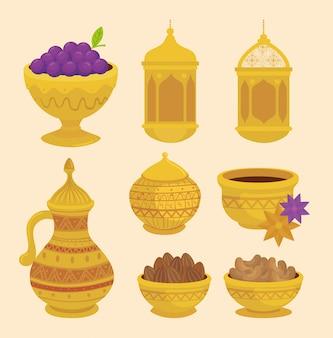 Carta di celebrazione di eid al adha con progettazione decorativa dorata stabilita dell'illustrazione delle icone