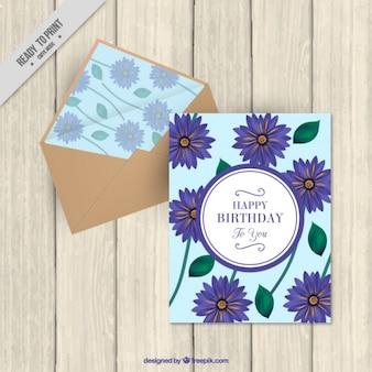 Carta di compleanno carino wih margherite