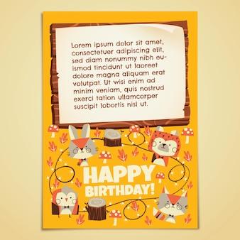 Carta di compleanno degli animali della foresta