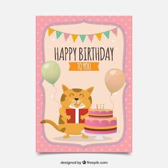 Carta di compleanno in design piatto con un gatto