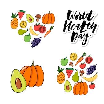 Carta di concetto - frutta di verdure di giornata mondiale della salute