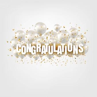 Carta di congratulazioni e palloncini bianchi su bianco