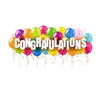 Carta di congratulazioni e palloncini colorati su bianco