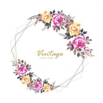 Carta di cornice di fiori di invito matrimonio romantico