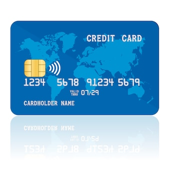 Carta di credito contactless blu.