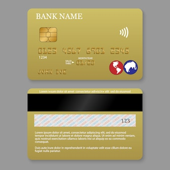 Carta di credito dettagliata realistica.
