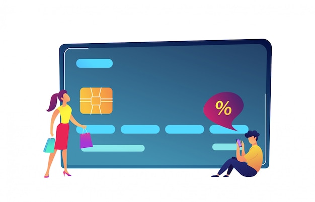 Carta di credito enorme, cliente con le borse e compratore con l'illustrazione di vettore dello smartphone.