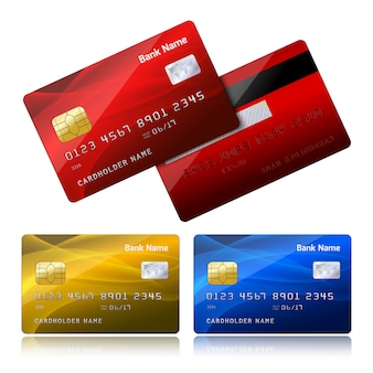 Carta di credito realistica con chip di sicurezza