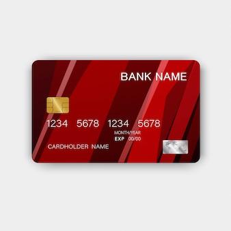 Carta di credito rossa con ispirazione dall'astratto.