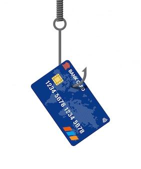 Carta di credito su amo da pesca. concetto di trappola per soldi.