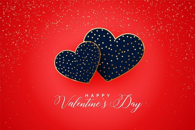 Carta di cuori di scintillii di san valentino felice due