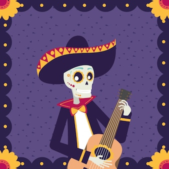 Carta di dia de los muertos con teschio di mariachi a suonare la chitarra