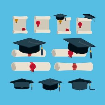 Carta di diploma con cappelli e diplomi