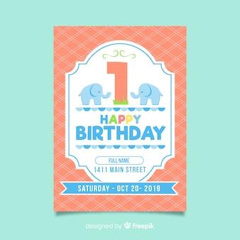Carta di elefanti piatti di primo compleanno